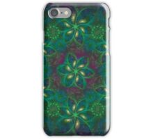 flowers in green, blue and gold. Fractal. iPhone Case/Skin