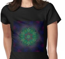 flowers in green, blue and gold. Fractal. Womens Fitted T-Shirt