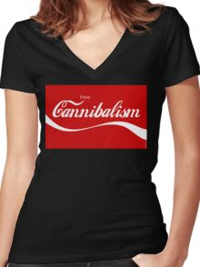 Enjoy CANNIBALISM! Women's Fitted V-Neck T-Shirt