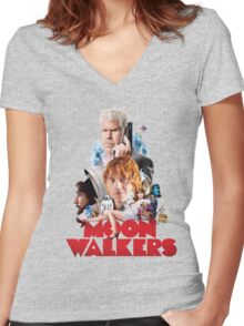 Moonwalkers movie 2016 Women's Fitted V-Neck T-Shirt