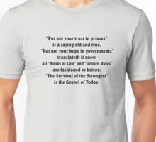 The Gospel of Today - Survival of the Strongest! Might is Right Unisex T-Shirt