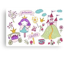 Fairy princess and her castle Canvas Print