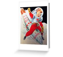 Vintage Valentine Rocket Penis  Greeting Card