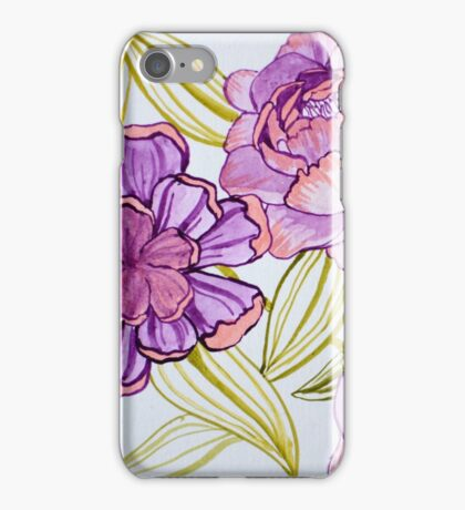 Flowers and Leaves Design Watercolor iPhone Case/Skin