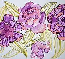Flowers and Leaves Design Watercolor by ArtLuver