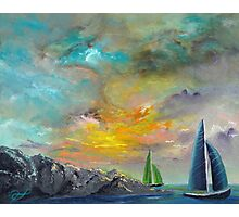 colorful sky sail boats Photographic Print