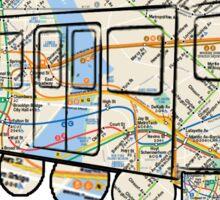 NYC Subway Map on a NYC subway car Sticker