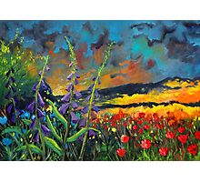abstract landscape flower painting with colorful sky Photographic Print