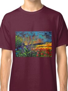 abstract landscape flower painting with colorful sky Classic T-Shirt
