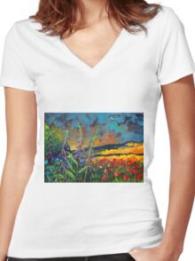 abstract landscape flower painting with colorful sky Women's Fitted V-Neck T-Shirt