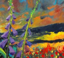 abstract landscape flower painting with colorful sky Sticker