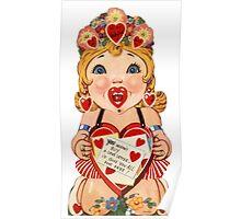 Vintage Valentine love doll Poster