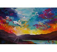 Pixel Sunrise original oil painting  Photographic Print