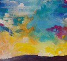 Pixel Sunrise original oil painting  Sticker