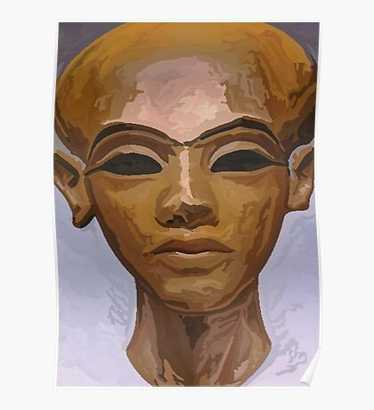 'Heretic King' - Watercolor Akhenaton Bust Poster