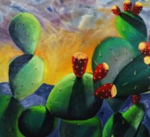 Original New Mexico cactus painting with a bold colorful sky and prickly pear fruit with the sandia mountains. Sticker