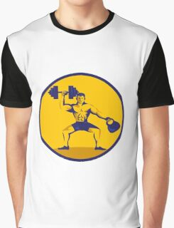 Athlete Lifting Kettlebell Dumbbell Circle Retro Graphic T-Shirt