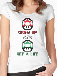 Super Mario Grow Up And Get A Life Women's Fitted Scoop T-Shirt