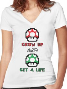 Super Mario Grow Up And Get A Life Women's Fitted V-Neck T-Shirt
