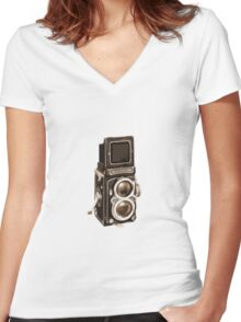 Old Rolli Camera Women's Fitted V-Neck T-Shirt