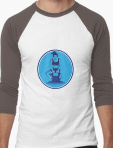 Female Trainer Lifting Kettleball Circle Retro Men's Baseball ¾ T-Shirt