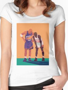 Michael Jordan and Charles Barkley Women's Fitted Scoop T-Shirt