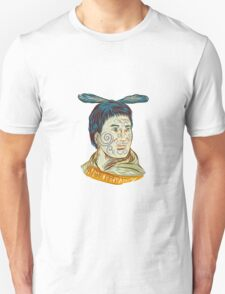 Maori Chieftain Warrior Head Drawing T-Shirt