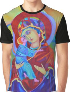 Virgin Mary with Child Jesus icon, Madonna and Child Graphic T-Shirt