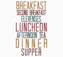 7 Hobbit Meals - Breakfast, Second Breakfast, Elevenses . . .  Kids Tee