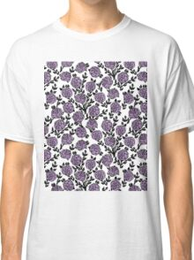 Roses // Linocut // lilac white by andrea lauren  Classic T-Shirt