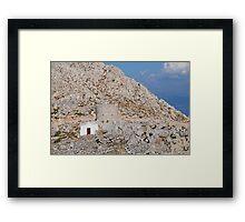 Chapel in the hills of Halki Framed Print