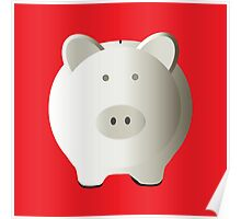 White piggy bank style money box isolated  Poster