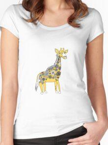 Giraffe with Flower Spots Women's Fitted Scoop T-Shirt