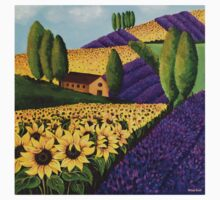 Sunflowers and Lavender Field One Piece - Short Sleeve