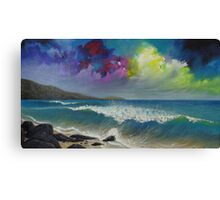 Origional colorful seascape painting with ocean waves and a bright bold stormy sky Canvas Print