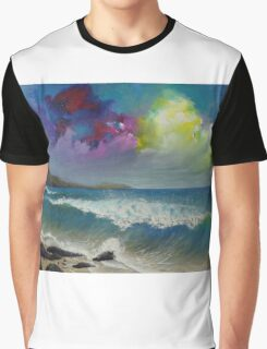 Original colorful seascape painting with ocean waves and a bright bold stormy sky Graphic T-Shirt