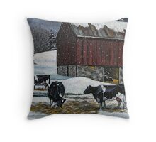 Cows in Snowy Barnyard, Original Painting, Farm Animals, No. 2 Throw Pillow