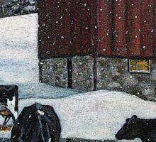 Cows in Snowy Barnyard, Original Painting, Farm Animals, No. 2 Sticker