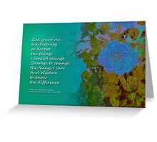 Serenity Prayer Blue Roses 2 Greeting Card