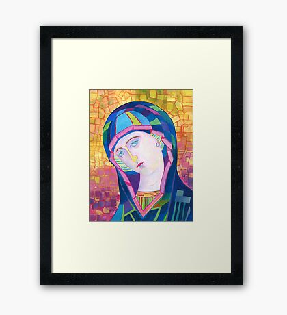 Blessed Mother of God in acrylic painted icon Framed Print