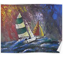 sailboats on stormy waters Poster