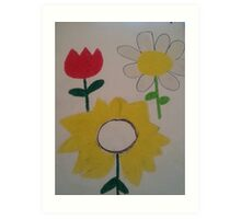 Oil Pastel Flower Picture Art Print