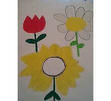 Oil Pastel Flower Picture Photographic Print