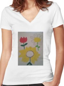 Oil Pastel Flower Picture Women's Fitted V-Neck T-Shirt