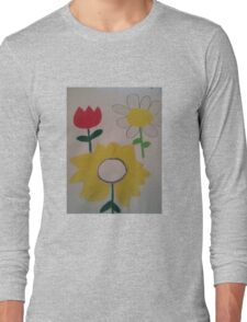 Oil Pastel Flower Picture Long Sleeve T-Shirt