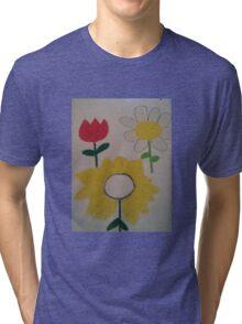 Oil Pastel Flower Picture Tri-blend T-Shirt