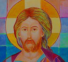 Jesus Christ Pantokrator. Made in Poland art. Christian icon original painting by tanabe