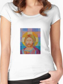 Jesus Christ Pantokrator. Made in Poland art. Christian icon original painting Women's Fitted Scoop T-Shirt
