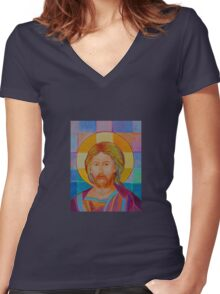 Jesus Christ Pantokrator. Made in Poland art. Christian icon original painting Women's Fitted V-Neck T-Shirt
