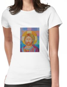 Jesus Christ Pantokrator. Made in Poland art. Christian icon original painting Womens Fitted T-Shirt
